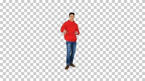 Thumbnail for Young caucasian man dancer in red hoody talking to camera Alpha