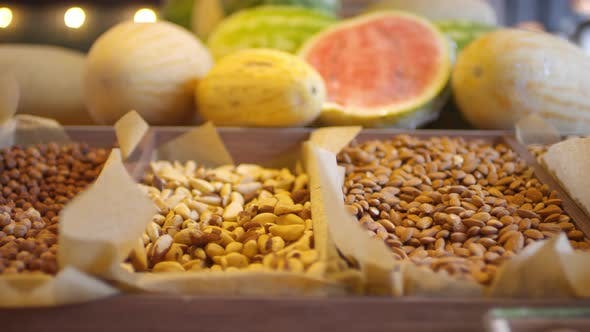 Thumbnail for Close Up of Variety of Nuts on Display in Food Store