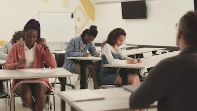 Multiethnic Students Writing in Class