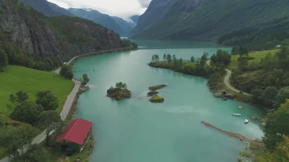 Cover Image for Turquoise Lovatnet Lake. Beautiful Landscape of Norway