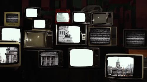 Palace of the Argentine National Congress and Retro TVs.