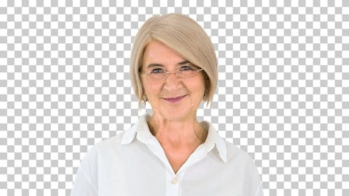 Grandmother in glasses and with gray hair, Alpha Channel