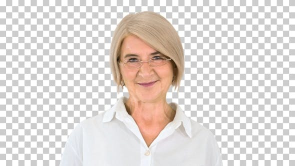 Thumbnail for Grandmother in glasses and with gray hair, Alpha Channel
