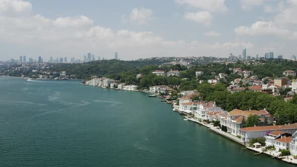 Thumbnail for Istanbul Bosphorus And Waterside Houses Aerial View 2