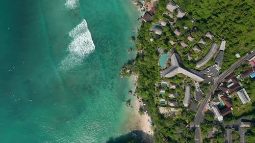 Luxury Tropical Resorts and Villas on the Cliff Above Tropical Blue Ocean in Bali Indonesia