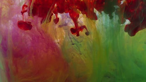 Abstract Colorful Colors Paint Ink Drops In Water Spreads 2