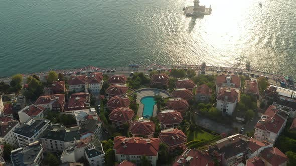 Hotel Resort on Bosphorus Riverside with View on Maiden's Tower in Beautiful Afternoon Light, Slow