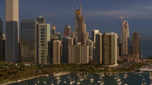 Harbor and Chicago skyscrapers