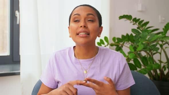 Happy Female Blogger Video Blogging at Home