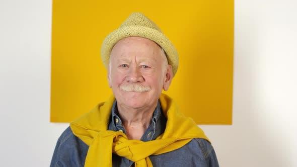 Thumbnail for Cheerful Stylish Elderly Man Posing