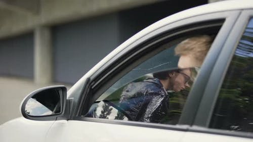 Male Paparazzi Sitting in Car and Making Photos of Female Celebrity, Sensation