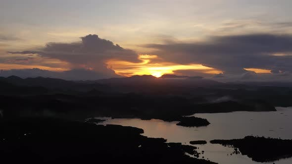 Thumbnail for Sunset Over Tropical Islands. Mountain Landscape in the Evening.