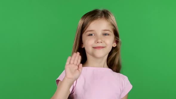 Thumbnail for Baby Is Waving To Others. Green Screen