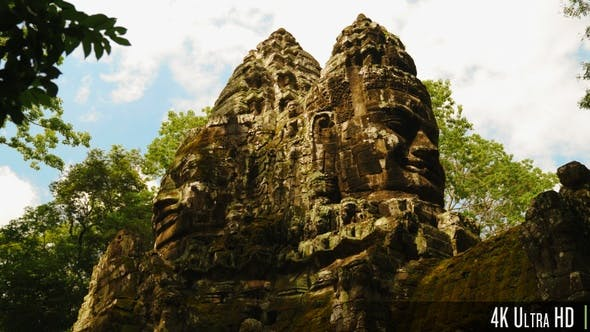4K Stone Smile Face of Bayon Ancient Temple in Siem Reap, Cambodia