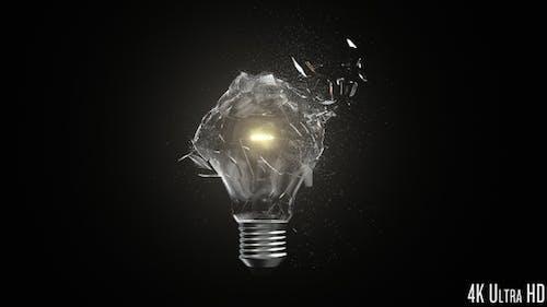 4K Isolated Lightbulb Shatter