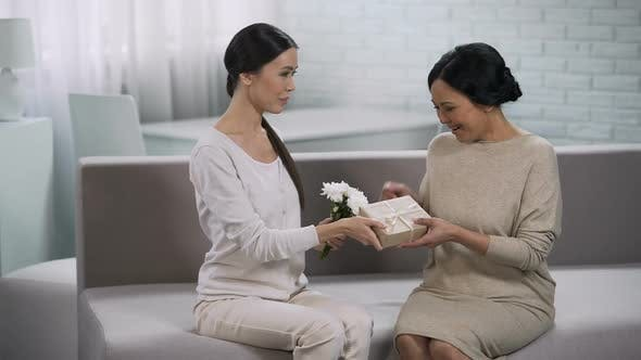 Thumbnail for Asian Girl Giving Present to Mother, Celebrating Anniversary of Marriage, Family