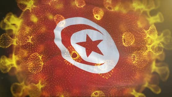 Tunisia Flag With Coronavirus Microbe Centered