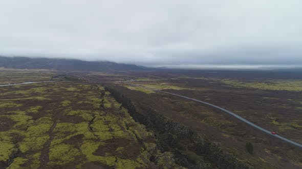 Thumbnail for Fissures and Cracks in Thingvellir National Park. Iceland. Aerial View