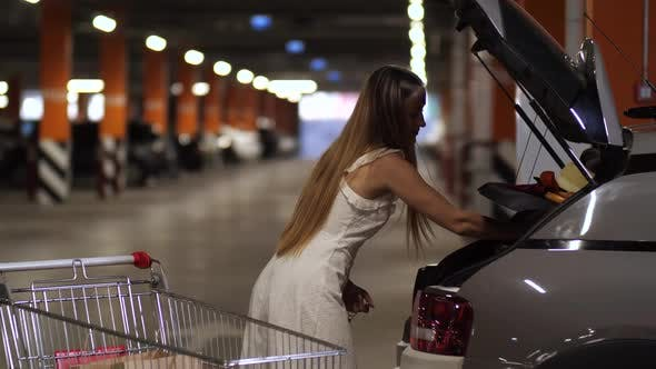 Thumbnail for Pretty Female Putting Purchases in Car Trunk