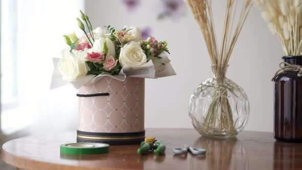 Florist's Work Desk with Tools and Bouquets, Close-up