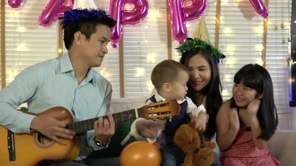 Celebration anniversary of happy family at home