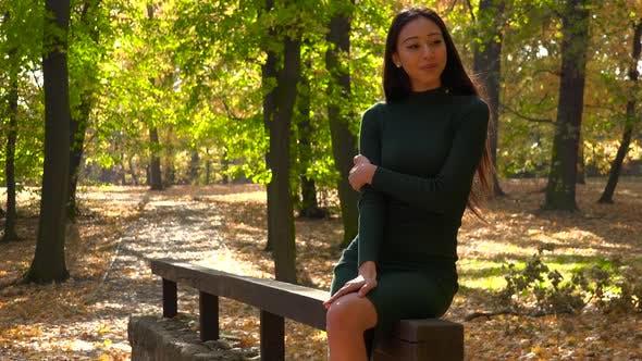 Thumbnail for Ein junger asiatischer Frau sitzt auf einem hölzernen Geländer in einem park und schaut um