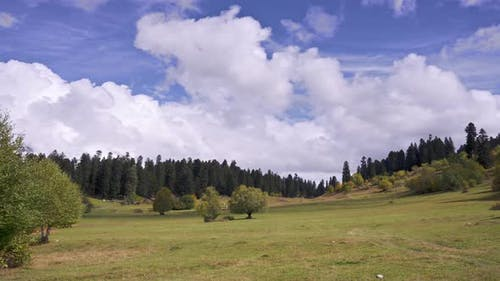 Clouds moving above the green meadow