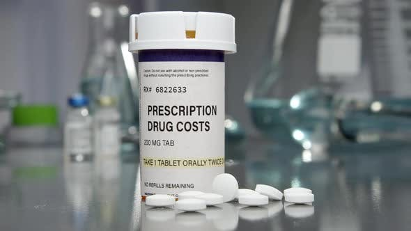 Thumbnail for Prescription drug cost bottle and pills in medical lab