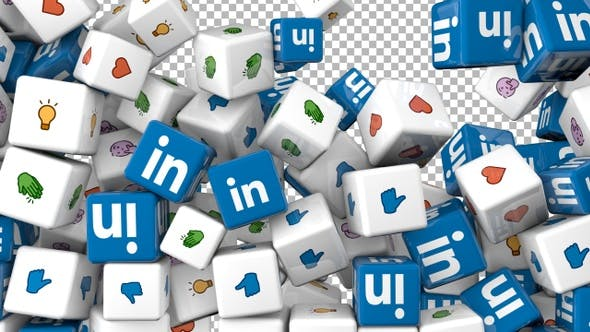 Social Media Icons Transition - Linkedin and Reactions