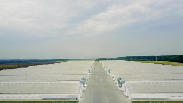 View Of Poultry Houses. Aerial view of poultry farm in the countryside