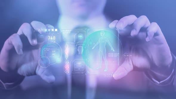 Панель гаджета будущего с данными о человеке HD