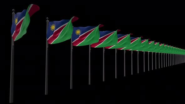 Row Of Namibia Flags With Alpha 4K