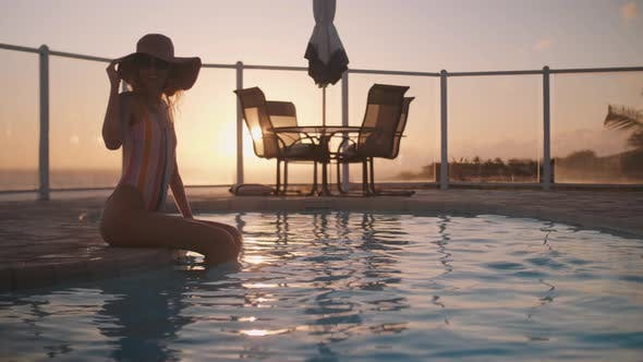 Thumbnail for Relax At The Pool At The Sunset