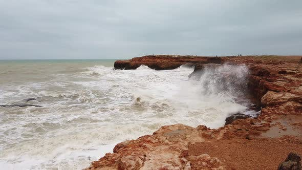 Thumbnail for Sparkling Ocean Waves with Rock, Waves Splashing Against Coastal Rock, Waves Smashing Foam Rocky