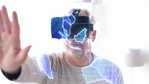 Thumbnail for Senior Man in Vr Headset with Earth Projection 7