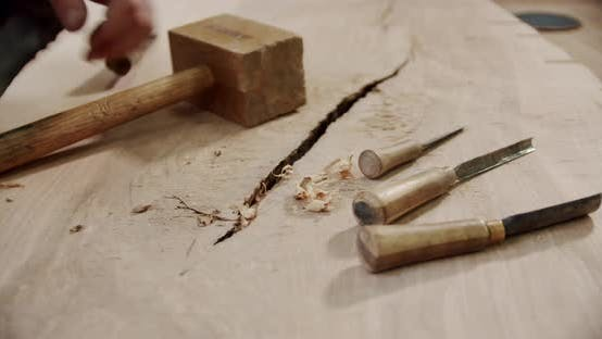 Thumbnail for Wood Carving Tools From Wood Shavings Set of Woodworking Tools and Equipment
