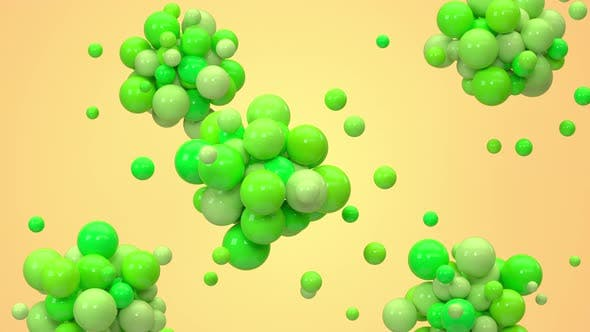 Thumbnail for Green balls gather together with yellow background.