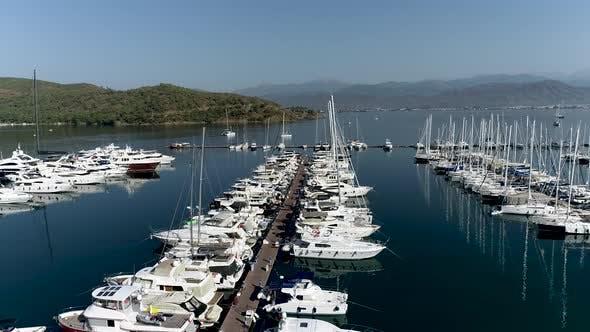Aerial View Marina with Sail Boats