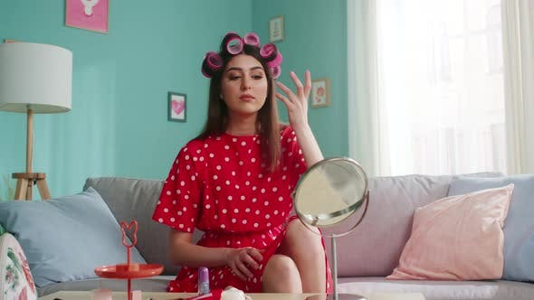 Young Woman Is Getting Ready To Party