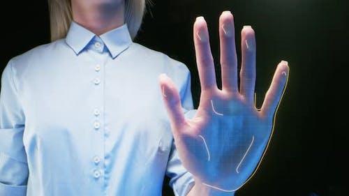 Crop Woman Passing Biometric Authentication