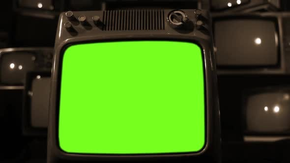 Thumbnail for Retro TV Turning On Green Screen With Static Noise. Sepia Tone.
