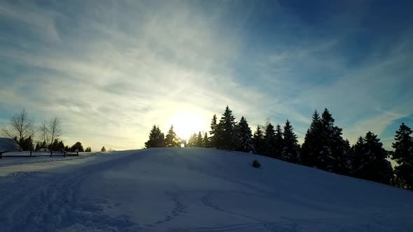 Thumbnail for Winter Sunset in the Small Village Near Forests
