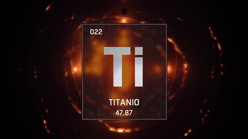 Titanium as Element 22 of the Periodic Table on Orange Background in Spanish Language