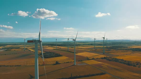 Thumbnail for Aerial View of Wind Turbines Farm and Agricultural Fields, Austria