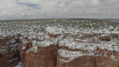 Sandstone canyon covered in snow