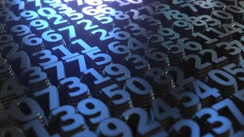 Nombreuses piles de numéros bleus