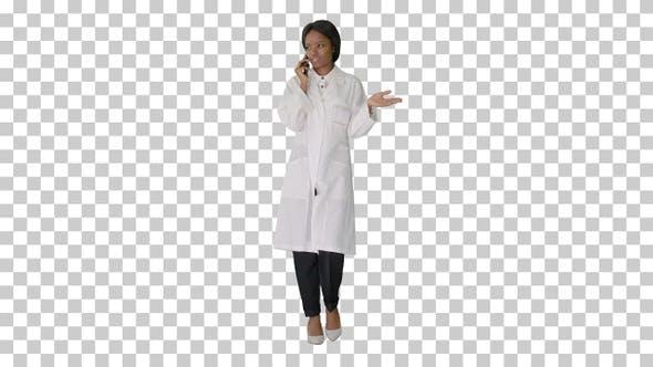 African american female doctor talking, Alpha Channel