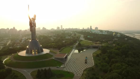 Thumbnail for Mother Motherland on Dnieper Shore. Aerial View Kiev Pechersk Lavra in Kiev City
