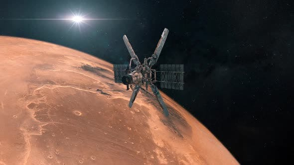 Observation Satellite in Orbit of Mars