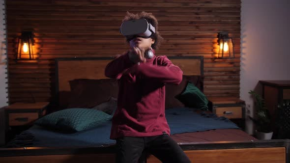 Insect-fearing Boy in VR Glasses Playing RPG